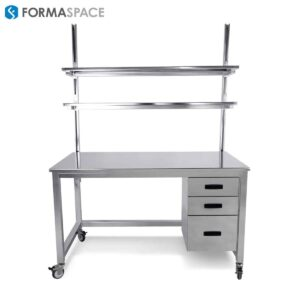 stainless steel workbench with 2 upper shelves and lower storage