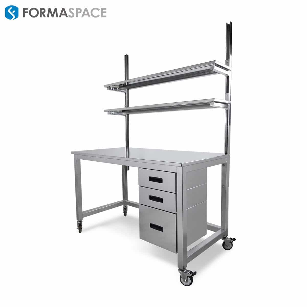 stainless steel workbench on casters