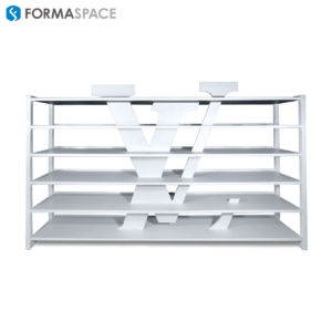 custom white laminate shelving unit with logo