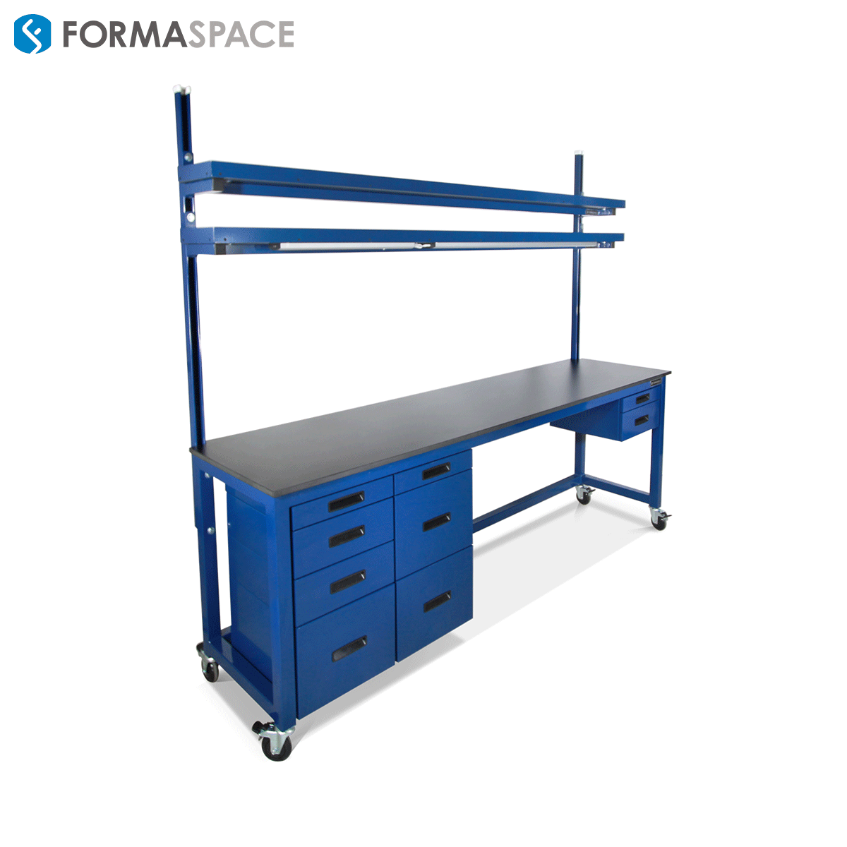extra long blue workbench with storage