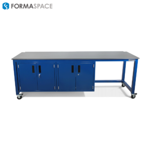 workbench with steel locking cabinets