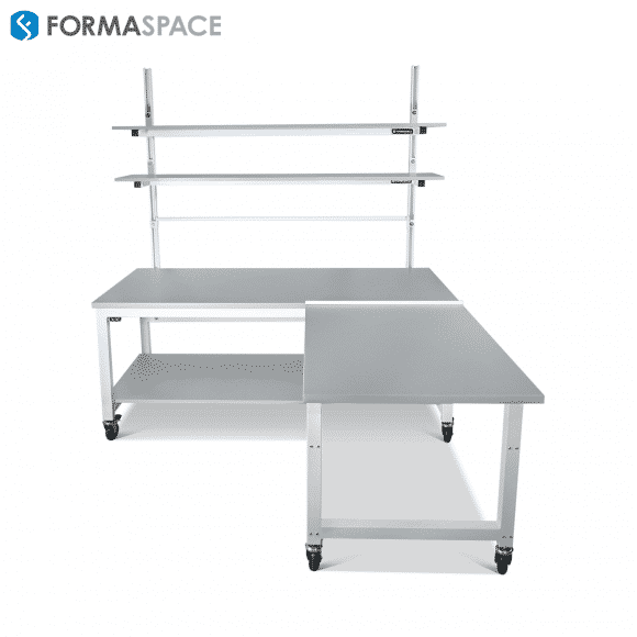 industrial material handling workbench with return