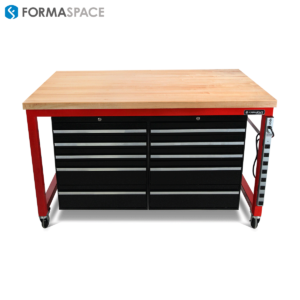 red mobile tool bench