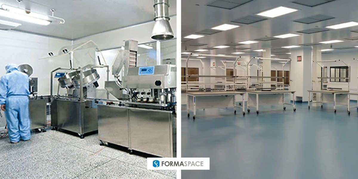 Cleanroom furniture examples with Abiomed cleanroom installation on right.