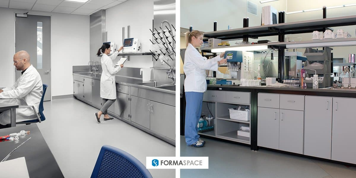 Formaspace hematology (blood work) laboratory examples, casework on left and modular on right.