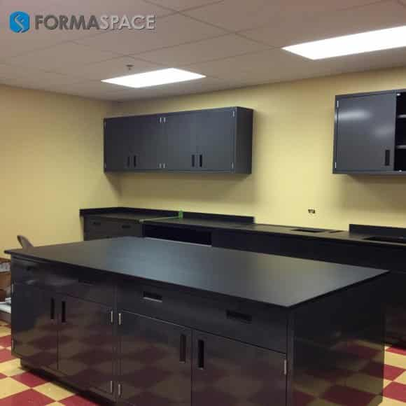 black steel casework and island