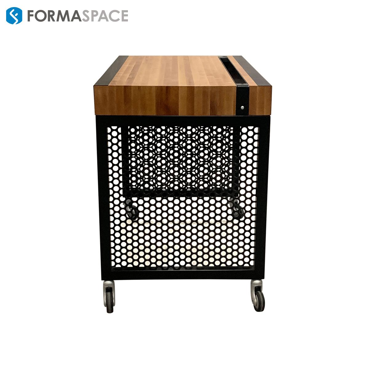 hardwood table with steel honeycomb legs