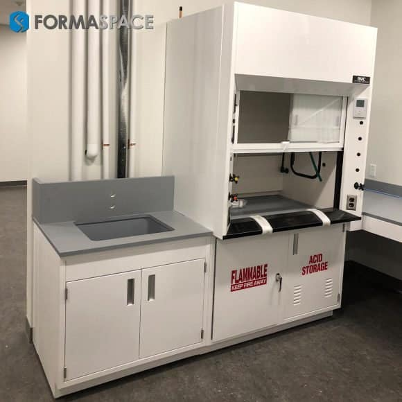 fumehood and acid cabinet casework combo