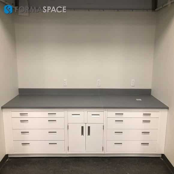 Gray Epoxy Top Casework with White Cabinetry