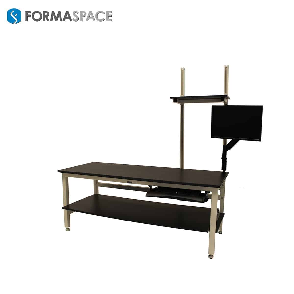 Custom Computer Workstation with Lower & Upper Shelves