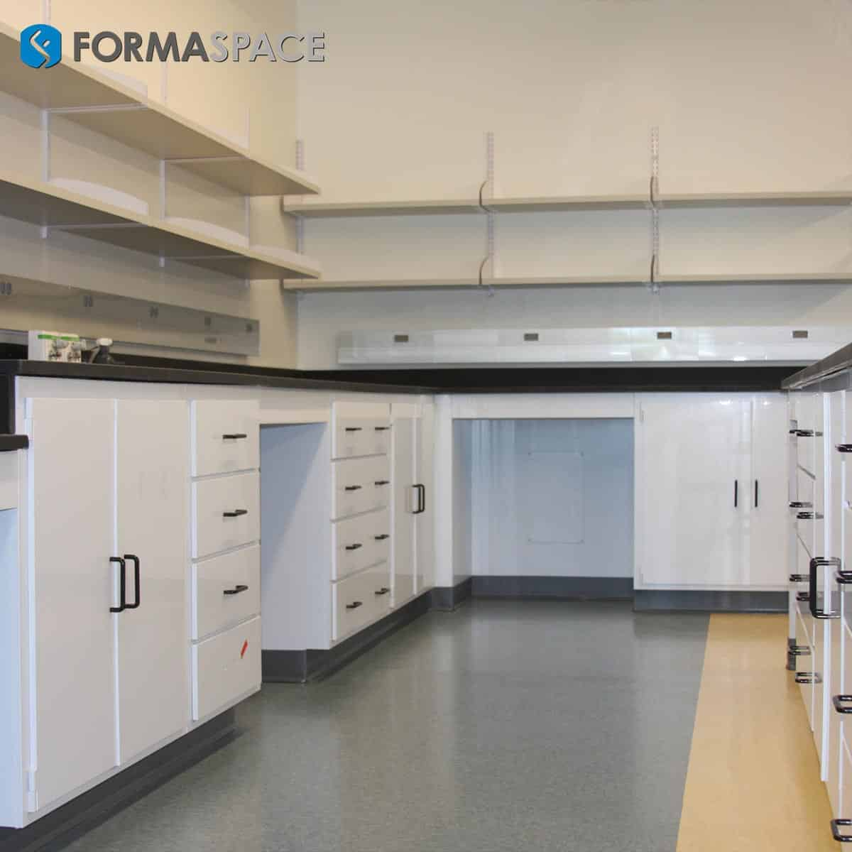 White Chemical Resistant Casework with Wall Mounted Shelves