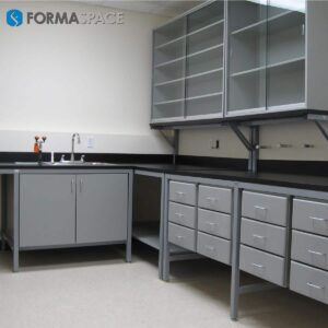 Modular Workbenches with Upper Glass Shelves for Pharmaceuticals