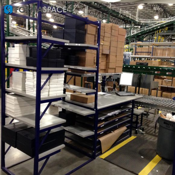 Material Handling Workstations with Custom Storage Racks