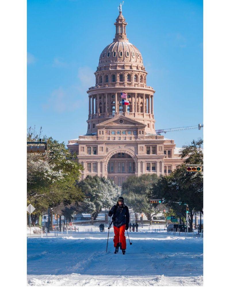 snow covered austin texas