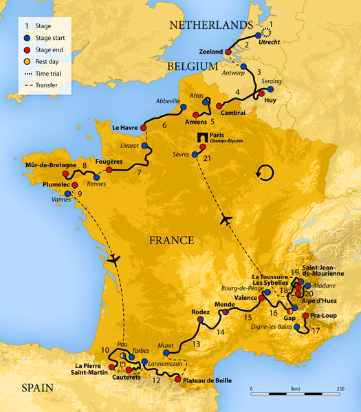 This year's Tour de France actually started in Utrecht in the Netherlands, working its way down the northern coast of France to Brittany before flying to the Pyrenees, Provence, and the Alps. A second flight brought teams to Paris for the ride down the famed Champs-Elysee.