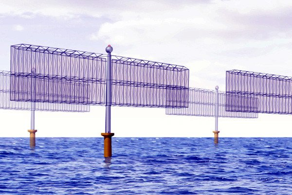 ACCIO presented their turbine-free offshore wind power system, which generates electricity using wind and charged water mist. There are no moving parts, instead positive and negative charges are collected on the tubes to create direct current electrical power.