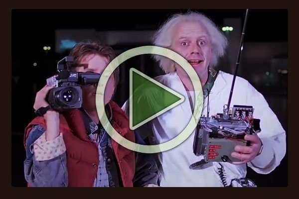 "The first Back to the Future film was released in 1985, 30 years ago this year. Here Michael J Fox as Marty McFly and Dr. Emmett ""Doc"" Brown, played by Christopher Lloyd are launching the DeLorean Time Machine for the first time."
