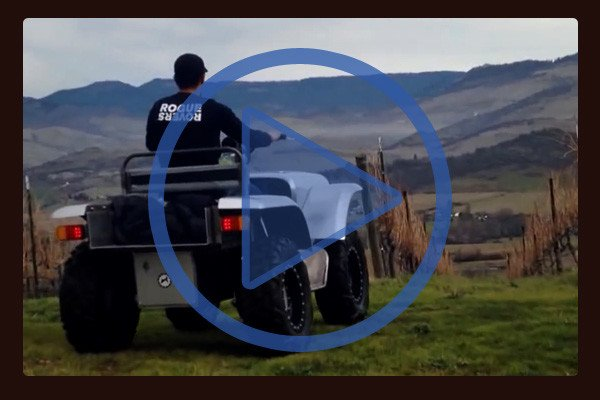 Here the FarmDogg electric All Terrain Vehicle (ATV) prototype takes tour of a vineyard. Unlike gasoline ATVs this model is quiet and vibration free. Video opens in a new window.