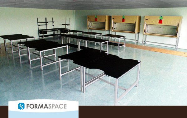 Antech Diagnostics opted for Formaspace professional on-site installation. Here the reference laboratory workbenches and fume hoods are being installed in one of two labs at the new Antech Diagnostics facility in Orlando.