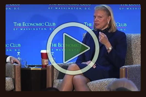 Ginni Rometty, Chairman, President and CEO, IBM speaks with David Rubenstein at The Economic Club of Washington DC