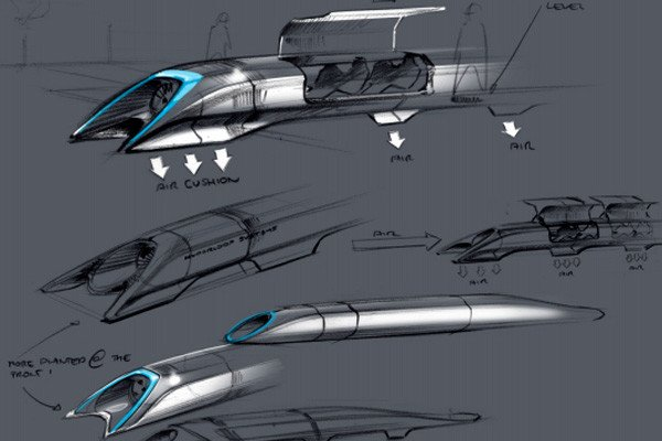 Elon Musk's drawings for a Hyperloop transportation system.
