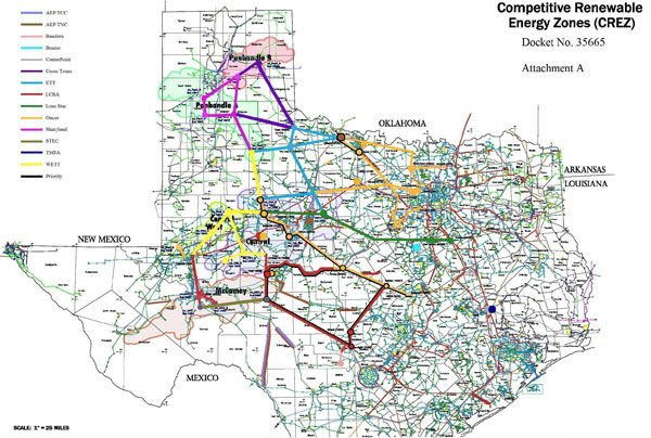 Map submitted to ERCOT showing the different routes for new transmission lines, known as Competitive Renewable Energy Zones (CREZ). The Lone Star Transmission line, which opened in March, is shown in green.
