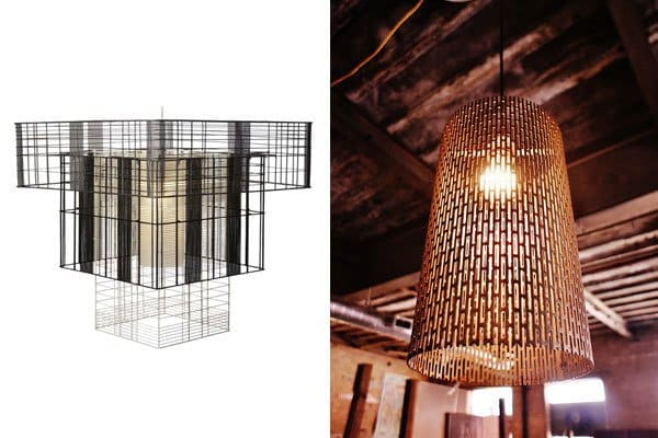 We saw lots of lattice design motifs at this year's international design shows, especially in lighting fixtures. Shown are Global Lighting's Mesh Cubic GM pendant lamp (left) and the Titus Drum Light from Metropolis Factory.
