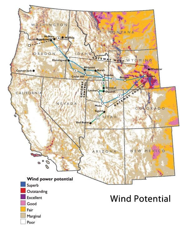 Data from the National Renewable Energy Laboratory highlights areas with the greatest wind power potential.  Image courtesy PacifiCorp.