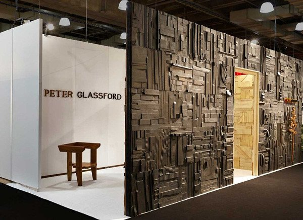 The Peter Glassford stand at ICFF included a full-scale installation of collage tiles. Image courtesy peterglassford.com