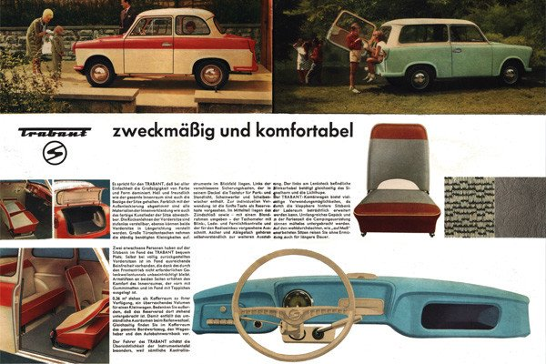 Advertisement for the East German Trabant car.